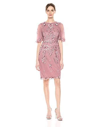 e3bff8baa0a Adrianna Papell Women s Floral Beaded Cocktail Dress with Sheer Flutter  Sleeves