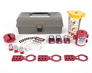 Zing Green Products 2734 RecycLockout Lockout Tagout Kit with Aluminum Padlocks, 32 Component, Deluxe Tool Box, Gray