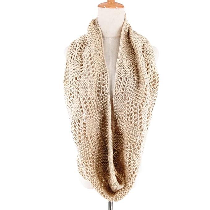 DAMILY Herbst Winter Damen Einfarbig Ausgehöhlten Stricken Schal ...