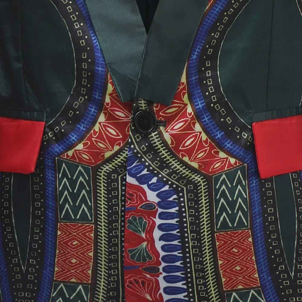 OWMEOT Mens African Dashiki Printed Ruffle Shawl Collar Cardigan Lightweight Long Length Printed Coat