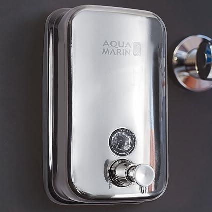 Aquamarin - Dispensador de jabón para pared, acero inoxidable, 800 ml