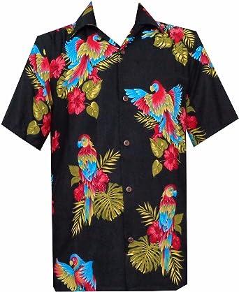 Camisas hawaianas para hombre, de manga corta, para acampada, fiesta, aloha, vacaciones - Negro - Small: Amazon.es: Ropa y accesorios