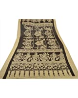 New Dupatta Long Scarf Pure Cotton Black Hijab Printed Pattachitra Veil Stole