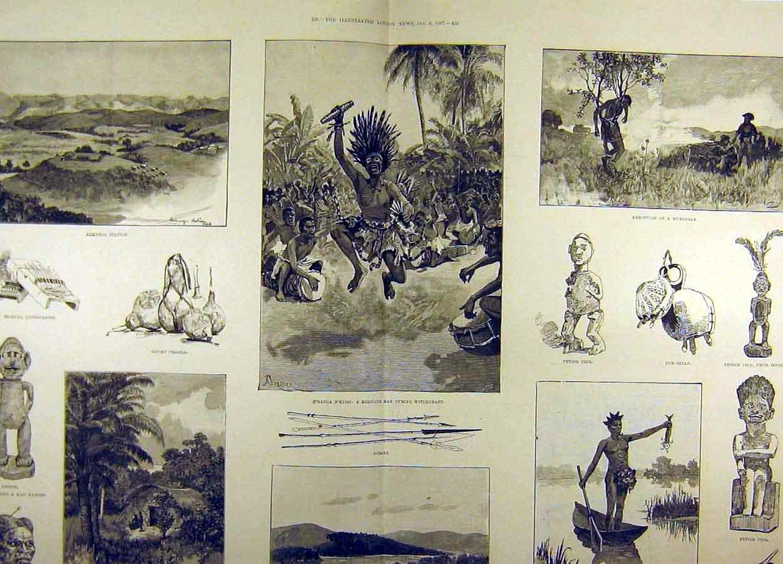 Old original antique victorian print 1887 sketches river congo utensils witchcraft music 85t8711 amazon co uk kitchen home