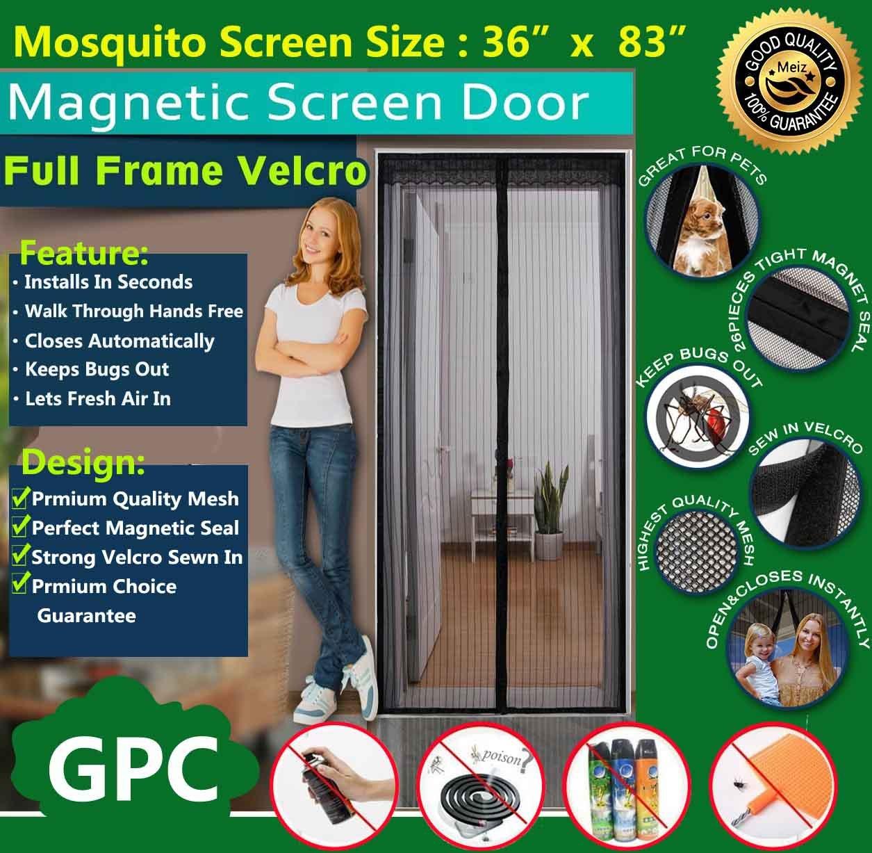 Meiz Magnetic Screen Door ,Instant Screen Door 36'' x 83'',Keeps Bugs Out,Lets Fresh Air In,Toddler And Pet Friendly, Fits Door Up To 34'' x 82'',Black