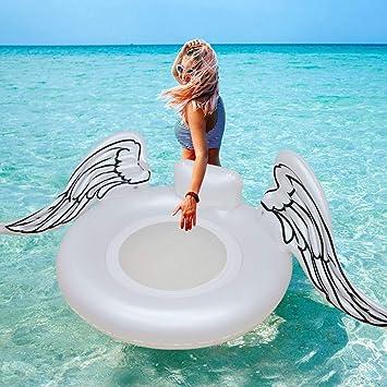 KDKDA Flotador de Piscina Alas Blancas Flotadores de natación inflables for la Fiesta de Piscina de Verano Anillo de natación Inflable Flotadores de Tubo de río for Adultos: Amazon.es: Deportes y aire