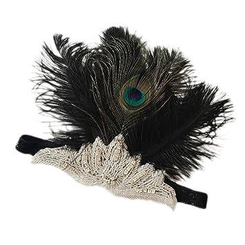 Magideal Diadema Solapa Negra de Diamantes Boda Plumas Vestido Vintage Accesorio de Mujer