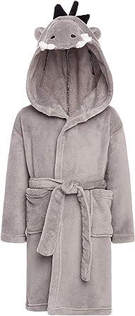 Alexander Del Rossa Kids Soft Fleece Robe with Hood Boys and Girls Bathrobe