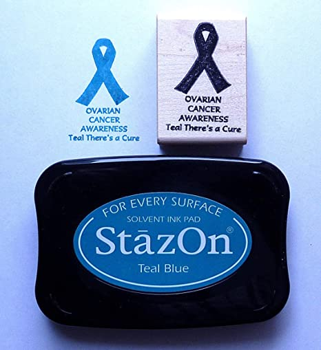 Rubber Stamp and Teal Staz-On Pad Ovarian Cancer Awareness Rubber Stamp Kit