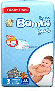 Sanita Bambi Baby Diapers Giant Pack Size 3, Medium, 6-11 KG, 54 Count