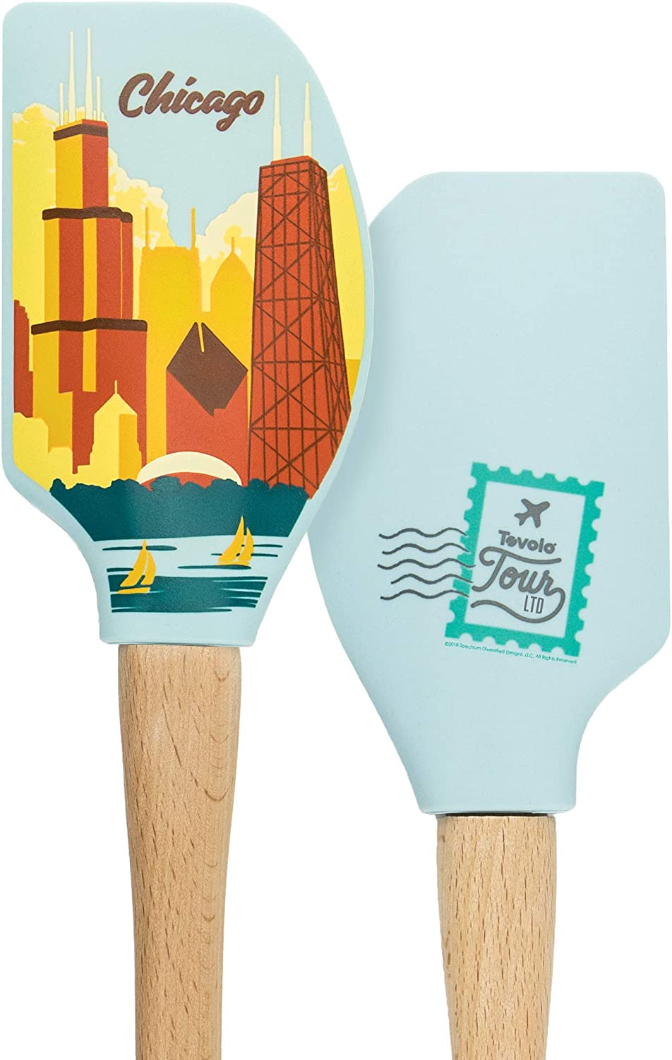Tovolo Tour Spatula-Chicago Heat Resistant Silicone & Wood Cooking Kitchen Utensils Non-Stick for Baking, Spreading and Mixing Ergonomic, Dishwasher Safe Bakeware BPA Free, 1, Multi