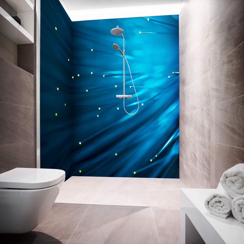 2 Panels( L-shape) 80 x 220 cm Shower Back Panel Aluminium Composite Panels for Corner Showers Cut to Size NY Litepins bluee