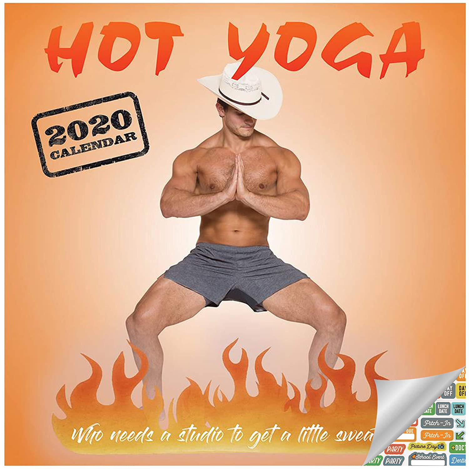 Hot Men Doing Yoga Calendar 2020 Set - Deluxe 2020 Hot Yoga Wall Calendar with Over 100 Calendar Stickers (Yoga Gifts, Office Supplies)