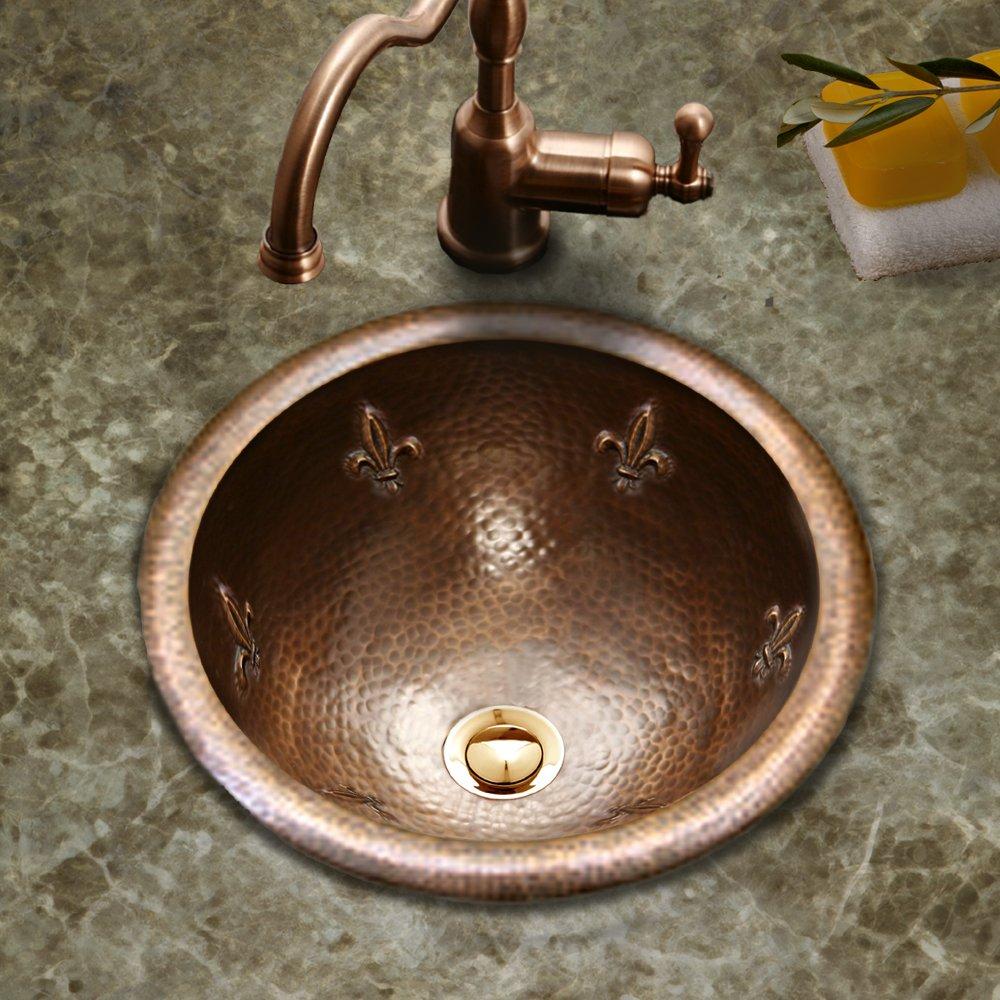 Antique Copper Houzer HW-FAM1RS Hammerwerks Series Fleur Di Lis Topmount Copper Lavatory Sink