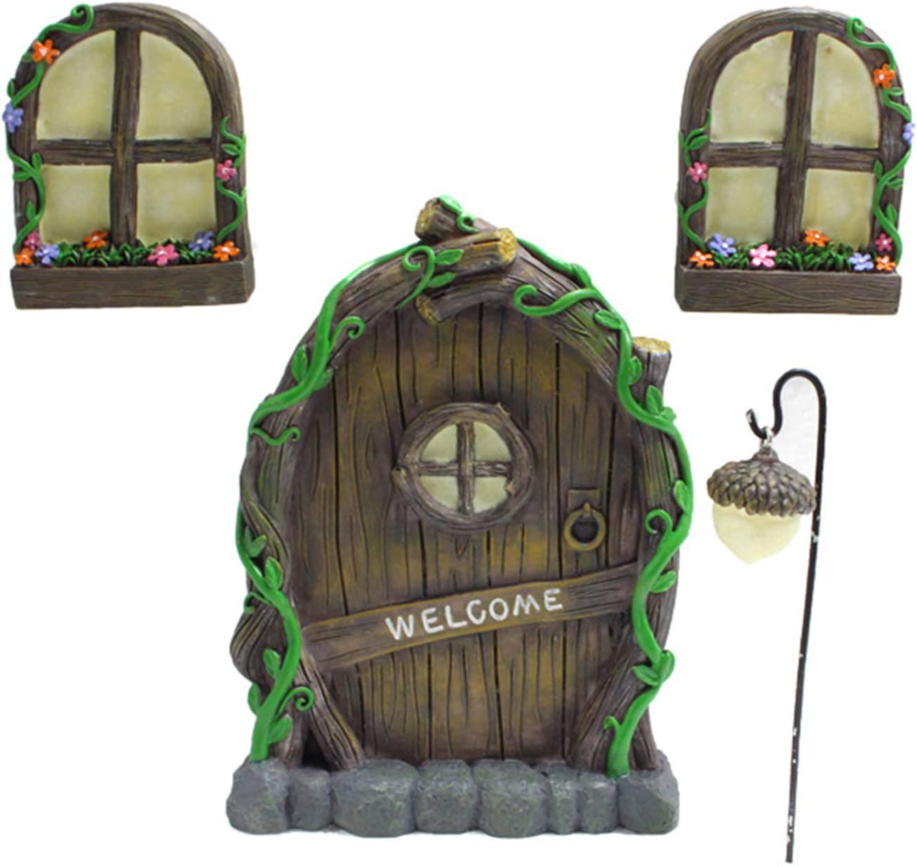 Canghai Fairy Doors for Trees with Two Windows and One Chandelier Glow in The Dark, Garden Sculptures and Yard Art, Decoration for Kids Room, Outdoor Decor Accessories(Multi)