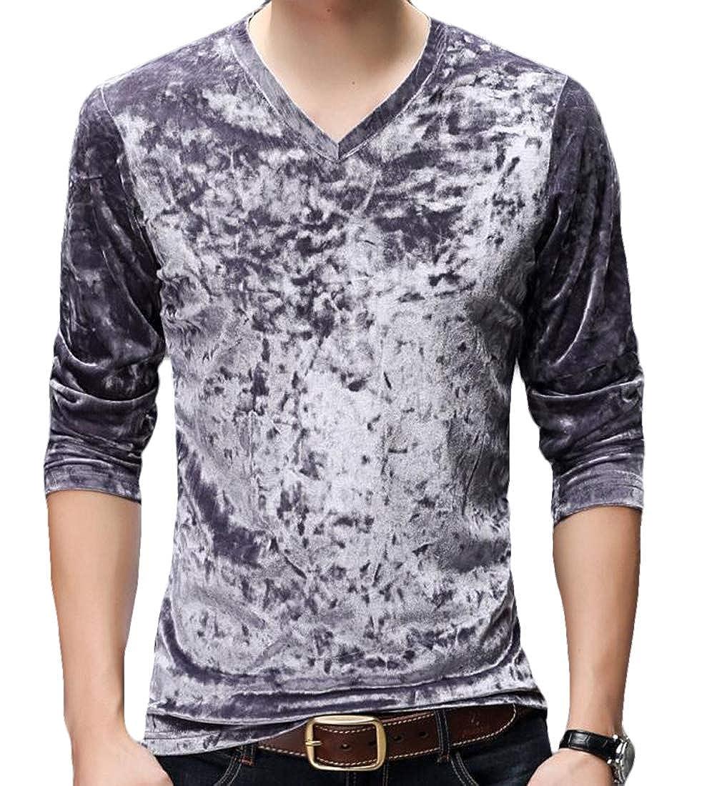 SELX Men Slim Fit Long Sleeve Thicken Slim Fleece Velvet V-Neck Tops T-Shirt