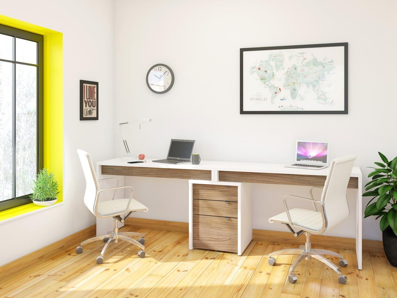 Liber-T 3 Piece Home Office Set White and Walnut by Nexera
