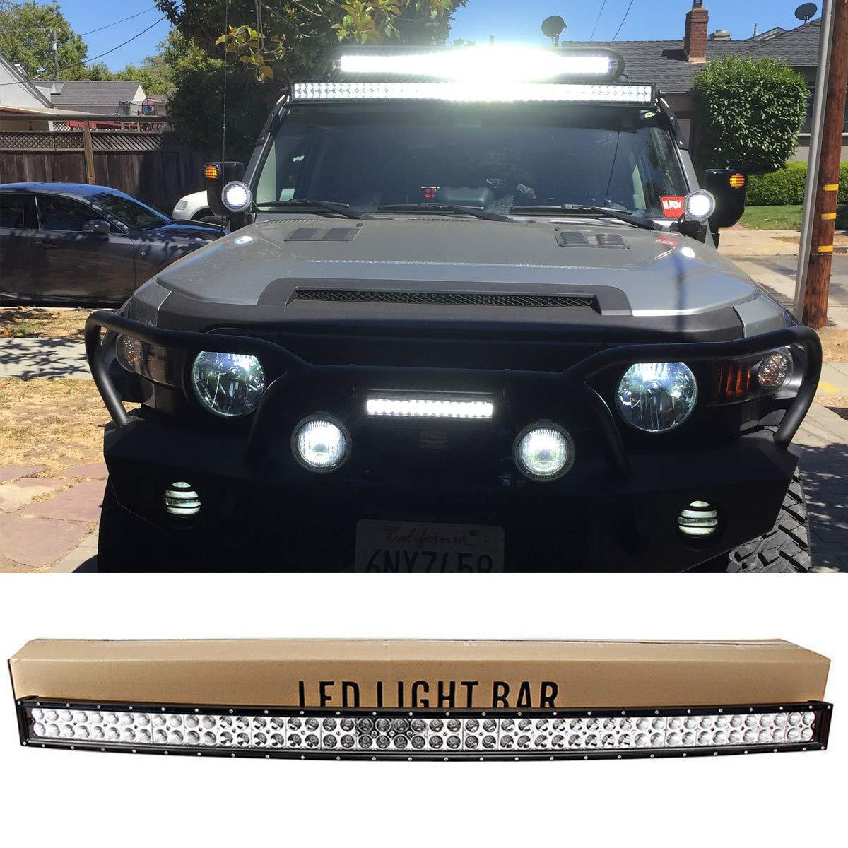 Willpower Barra de luz LED curvada de 50 pulgadas 288W spot flood combo Luz de trabajo con soporte de montaje para 4x4 Off Road Boat SUV UTE ATV Truck