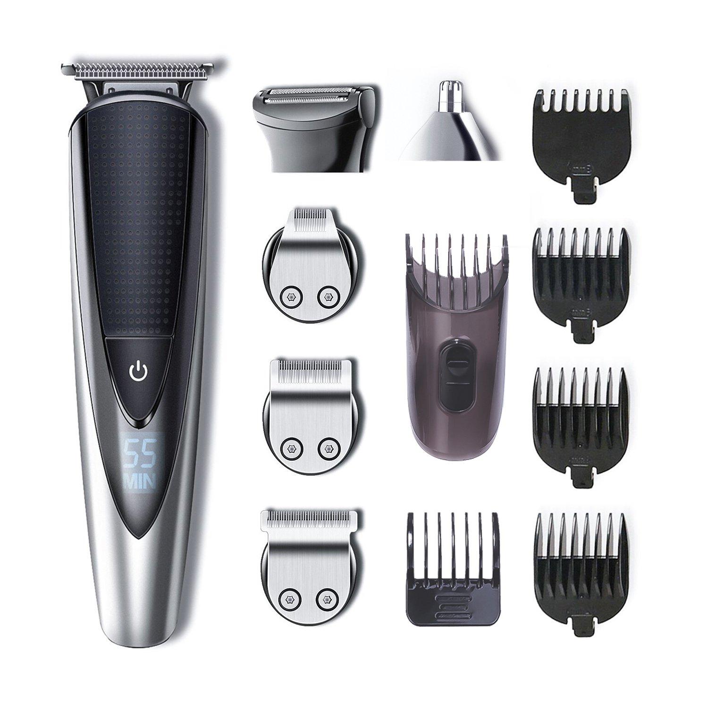 HATTEKER Beard Trimmer Kit For Men Cordless Mustache Trimmer Hair Trimmer Body Groomer Kit Of Nose Hair Trimmer Precision Trimmer Waterproof USB Rechargeable 5 In 1 by HATTEKER