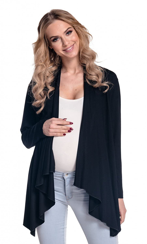 HAPPY MAMA Women's Maternity Waterfall Cardigan Shrug Jacket Blazer UK8-18 320p (Black, UK 12, L) HMB_4008_10