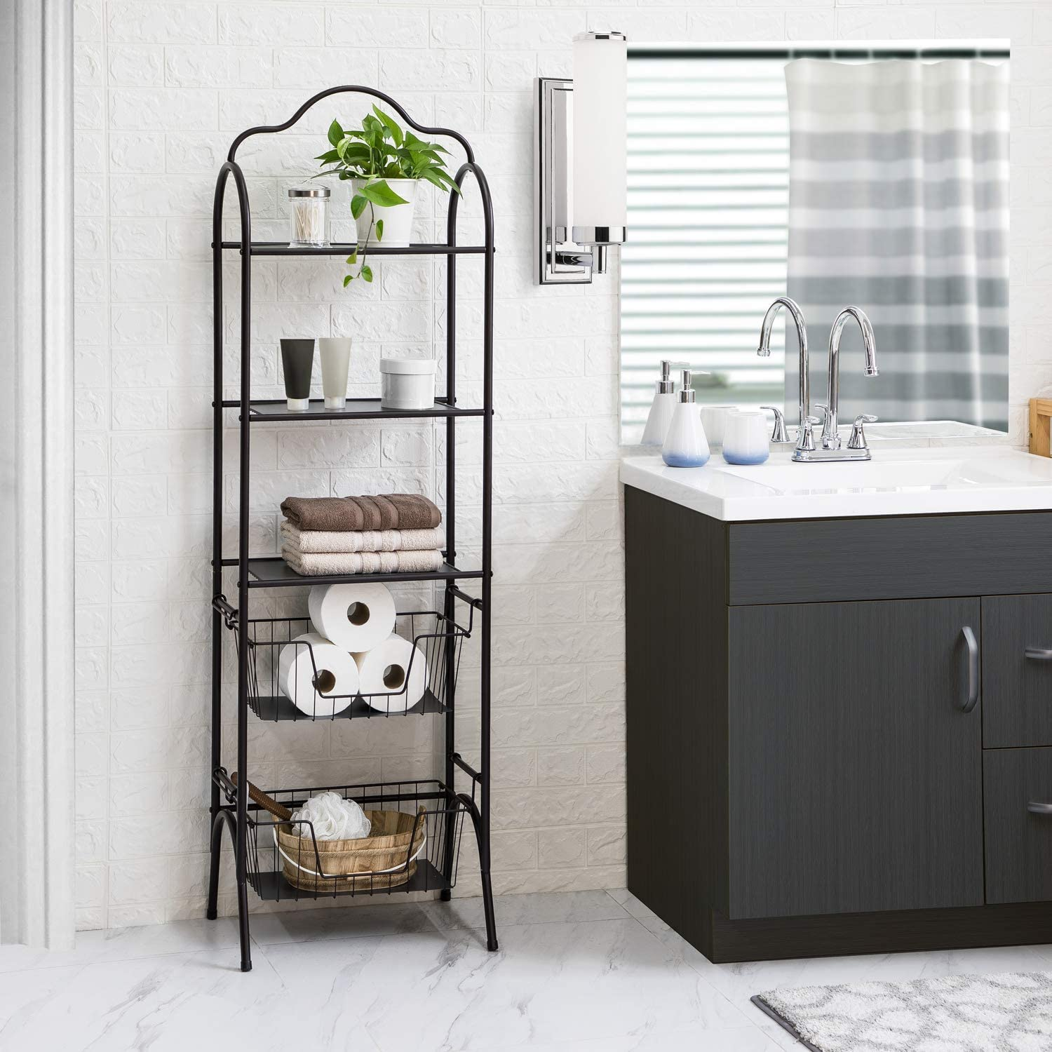 Home Zone Bath Storage Rack with Basket Shelving, 5-Tier
