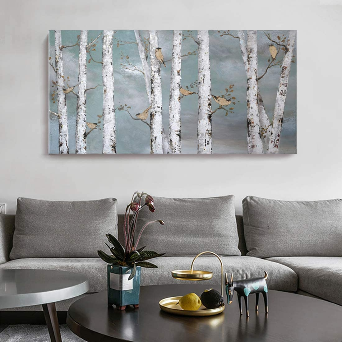 Large Tree Wall Art Hand-Painted Landscape Forest Oil Painting Gallery Wrapped Framed Canvas Bird Birch Artwork 'White Birch at Night' for Living Room Bedroom Office Décor Teal White Gold 48x24inch