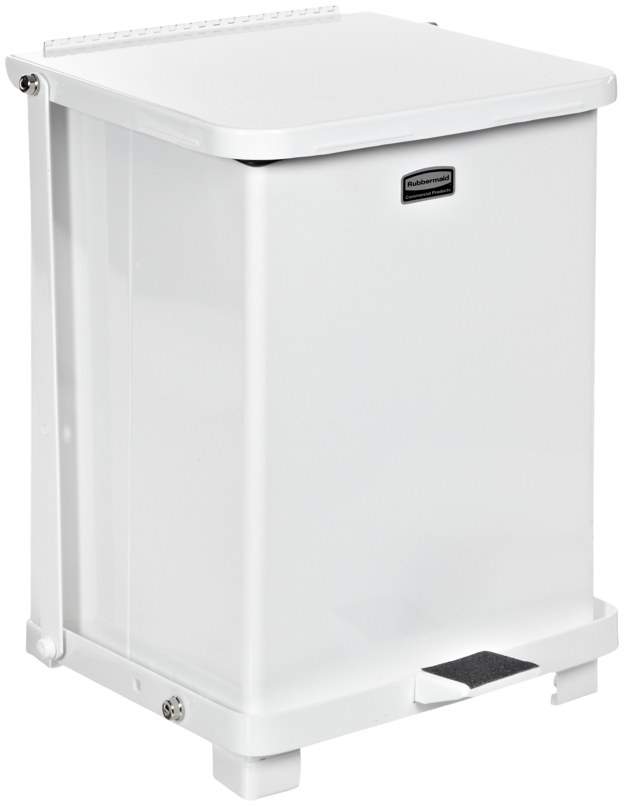 Rubbermaid Commercial FGST7ERBWH The Defenders Steel Step Trash Can with Retainer Bands, 7-Gallon, White