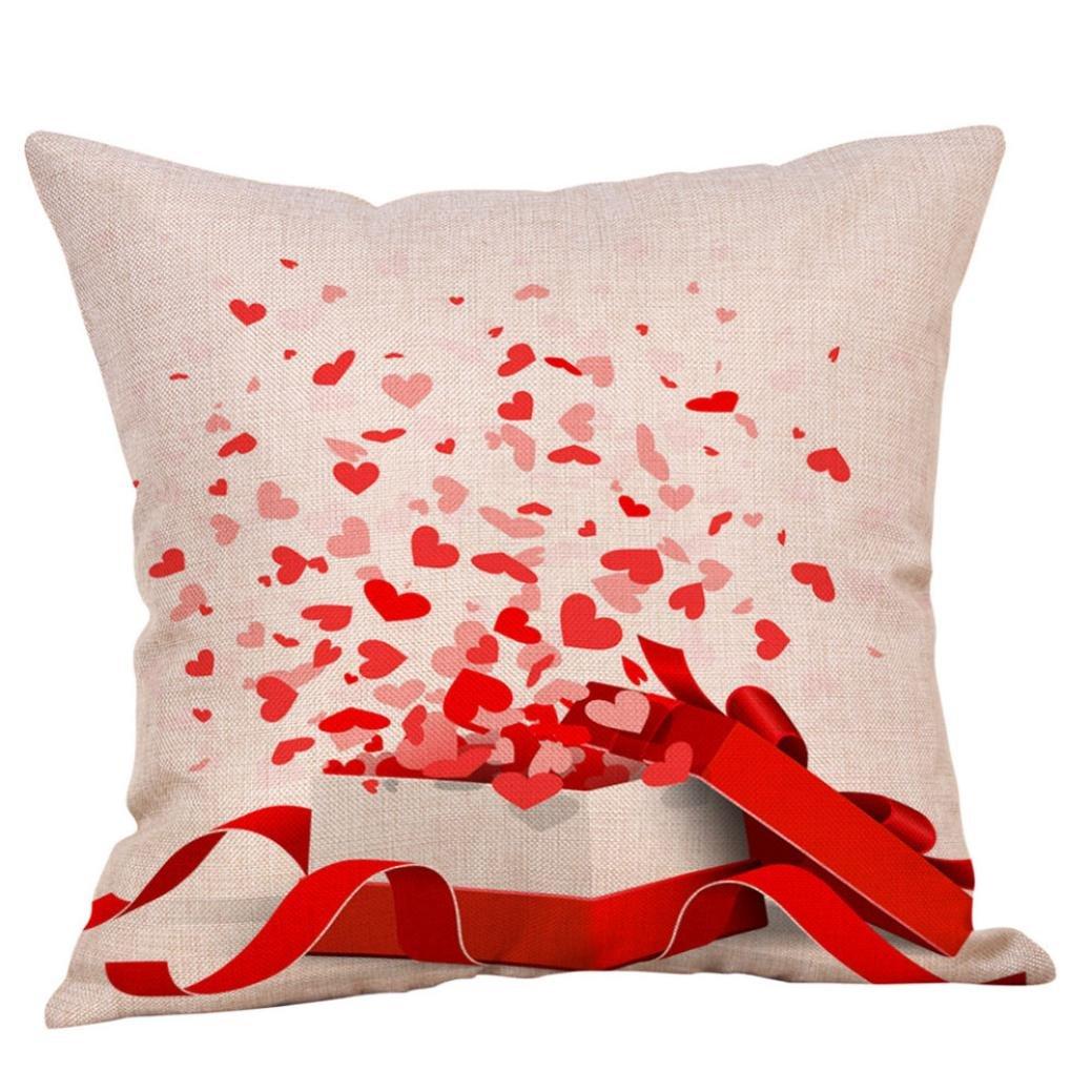 Tiean Happy Valentines Pillow Cases Linen Sofa Cushion Cover , 45*45 cm (D)