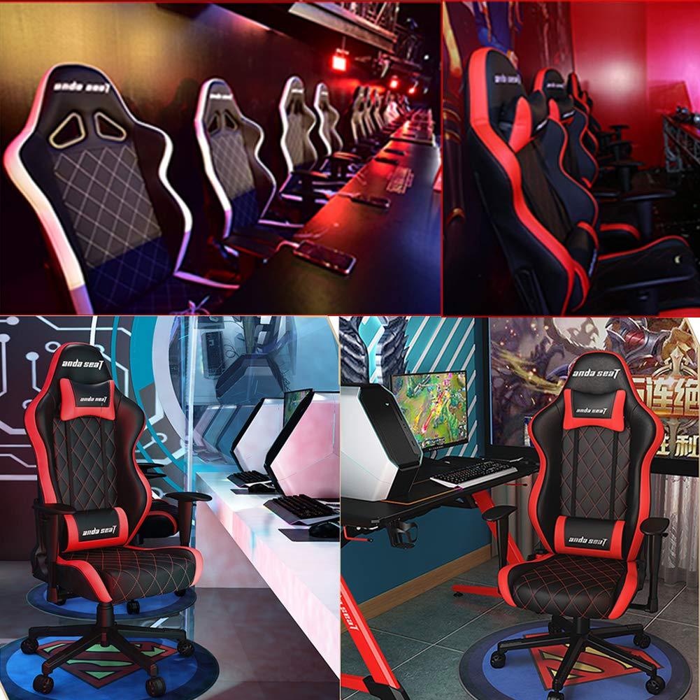 ATGTAOS spelstol kontorsstol hög rygg datorstol E-sportstol PU läder skrivbordsstol verkställande ergonomisk justering återhämtning svängbar vippa Brun BLÅ