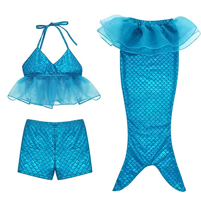 59b8987f0caca Amazon.com: Girl 3Pcs Mermaid Tail Swimmable Bikini Set Bathing 2018 Summer  Swimwear Cosplay 3-10Y: Clothing