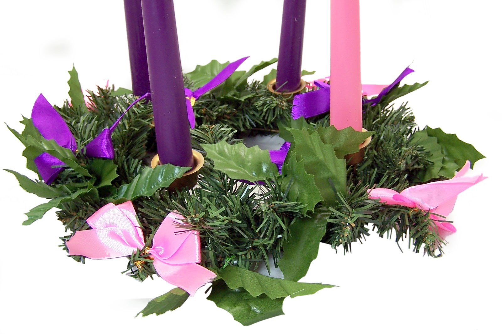 Silk Ribbon Advent Wreath Candle Holder Christmas Season Centerpiece Decoration by Religious Gifts