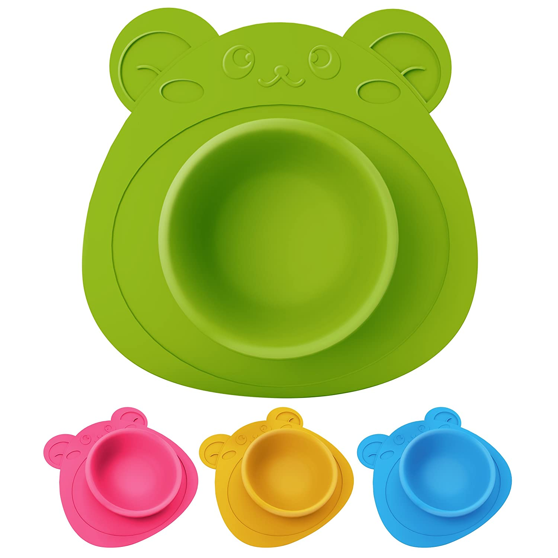 Teddyb/är gr/ün Teller rutschfest und umkippsicher Schale f/ür Babys und Kinder