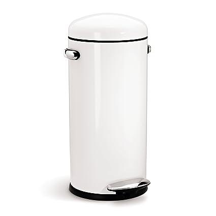 Best Amazon.com: simplehuman Round Retro Step Trash Can, White Steel  AP31