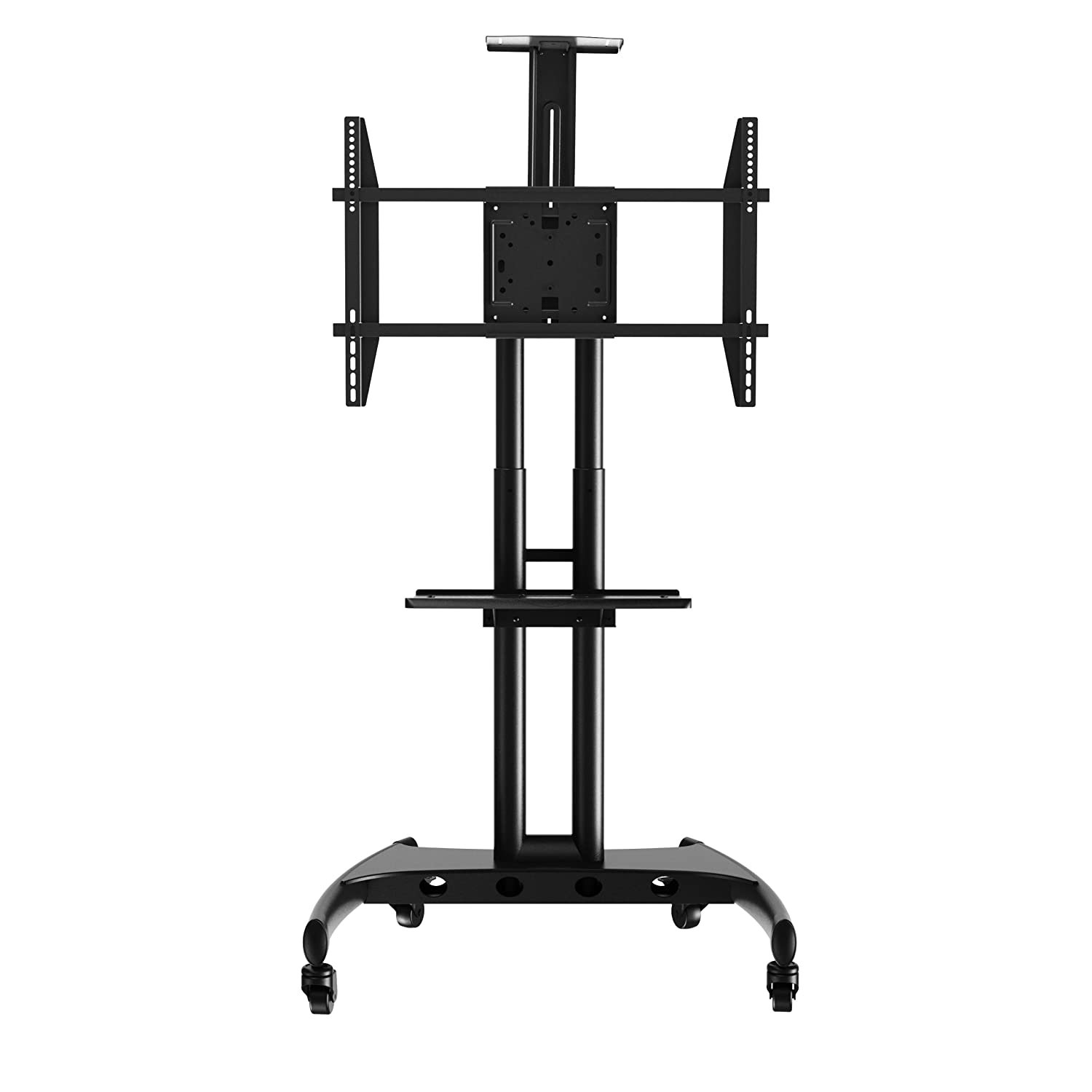 Rocelco VSTC Adjustable Height Mobile TV Stand, for 40-70 Flat Screen TV, with AV and Webcam Shelf, Black R VSTC