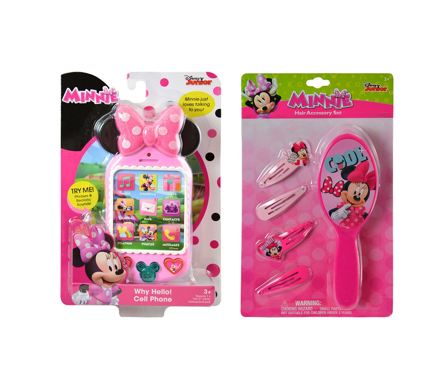 Mozlly Value Pack - Minnie Mouse Hair Accessory 5pc Set AND Why Hello There! Pink Cell Phone - Item #K103097-103049