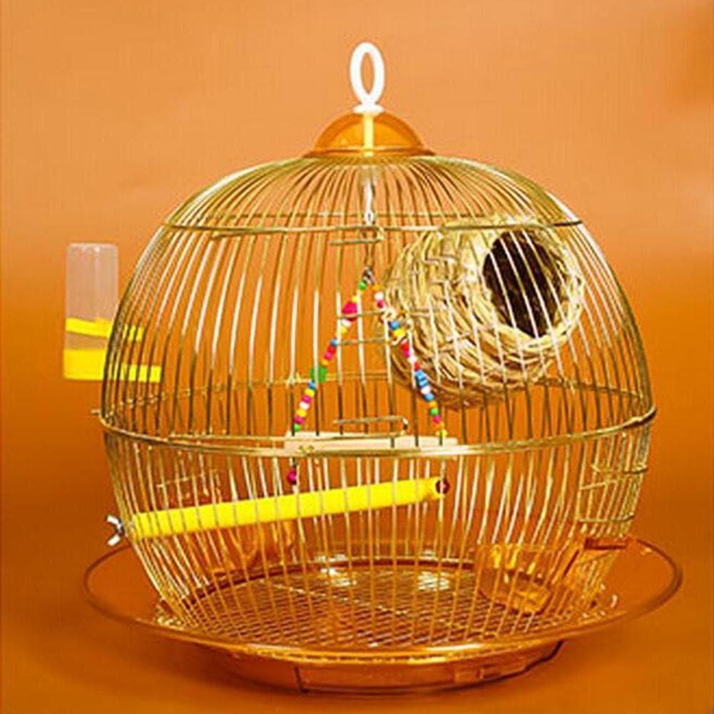 JiaYue Luxury100 Alta Temperatura Cromo Chapado Metal Jaulas para Pájaros de Oro Color 38x38CM, Golden Color, 38x38CM