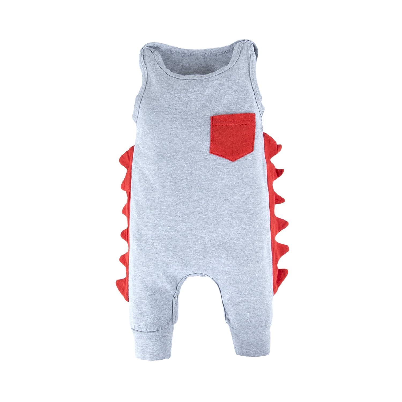 BIG ELEPHANT 1 pezzo Baby Boy Dinosaur Shape Simpatico Pagliaccetto senza maniche Pigiama O44