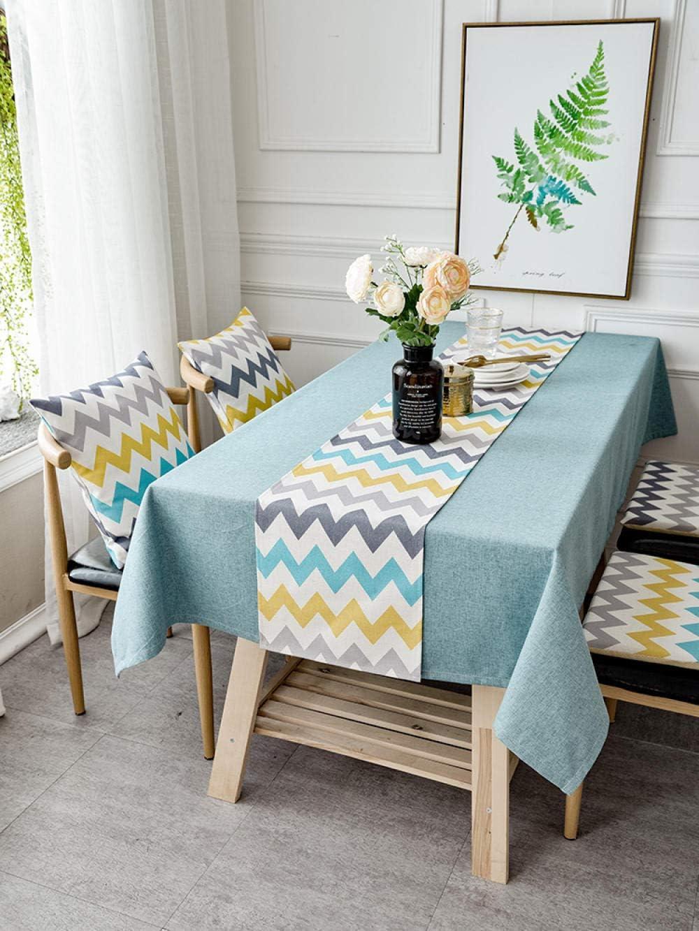 YuHengJin Mantel de Mesa Rectangular para Cocina algodón y Lino Simple Uso Interior y al Aire para Jardín Habitaciones Azul Amarillo 140 × 180 cm