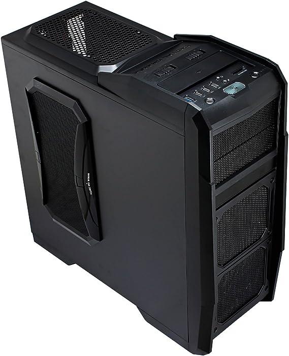 CiT Dominator - Caja para Ordenador (Ventiladores de 4 x 12 cm con ledes Azules, 3 USB 2.0 y 3.0, Lector de Tarjetas), Color Negro: Amazon.es: Informática
