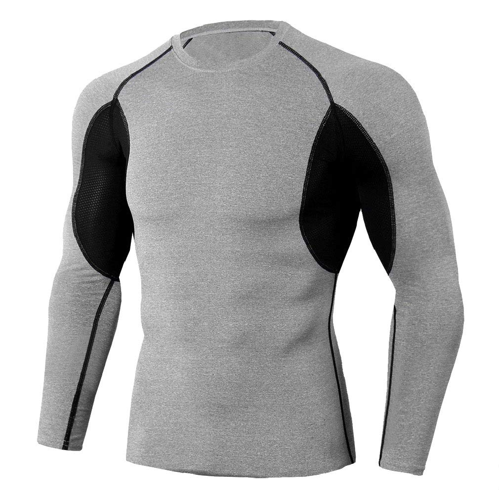 AngelSpace Men Bodycon Assorted Colors Tops Quick Drying Base Layer Activewear