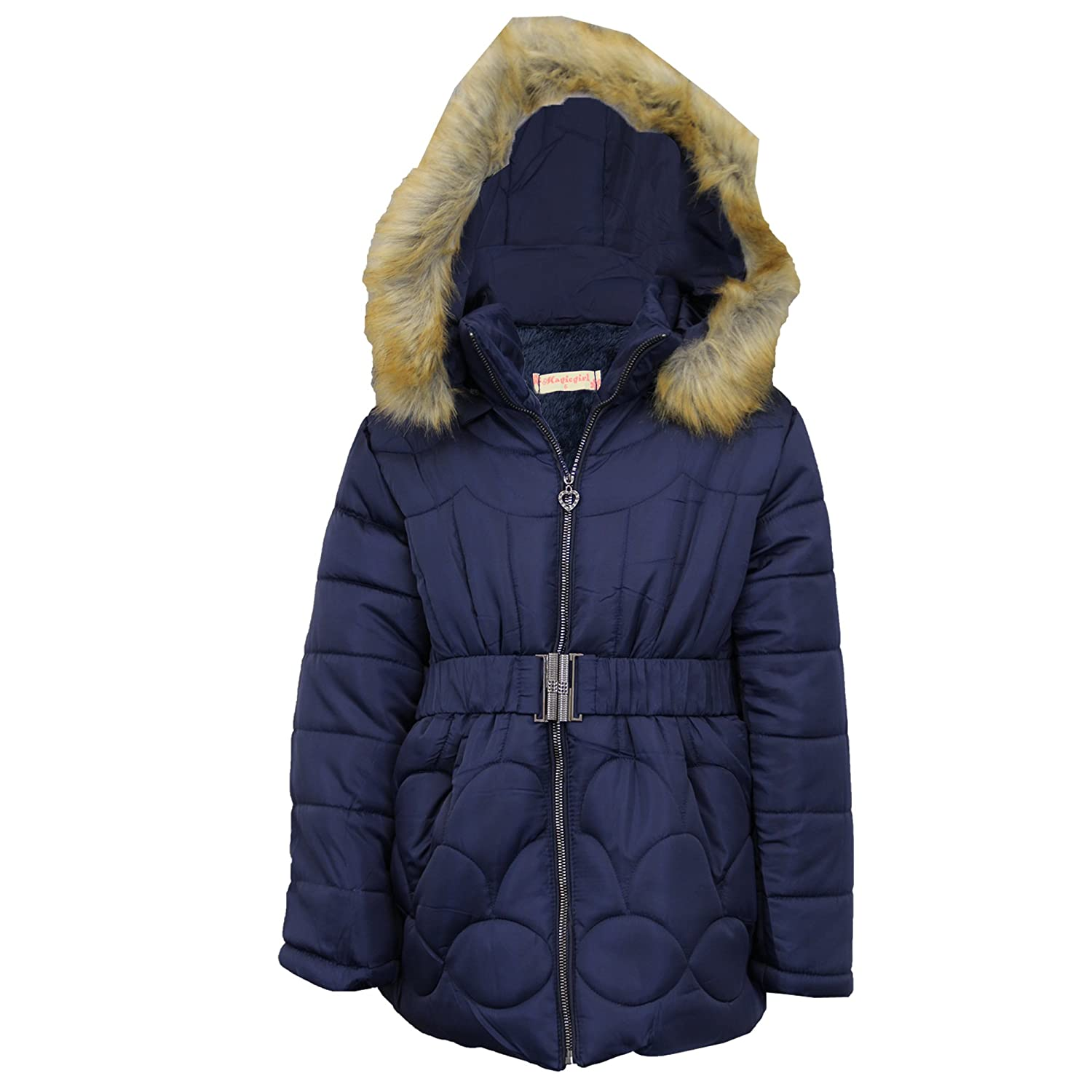 64af06cc3 Girls Jacket Kids Parka School Coat Padded Sherpa Fleece Fur Hoodie ...