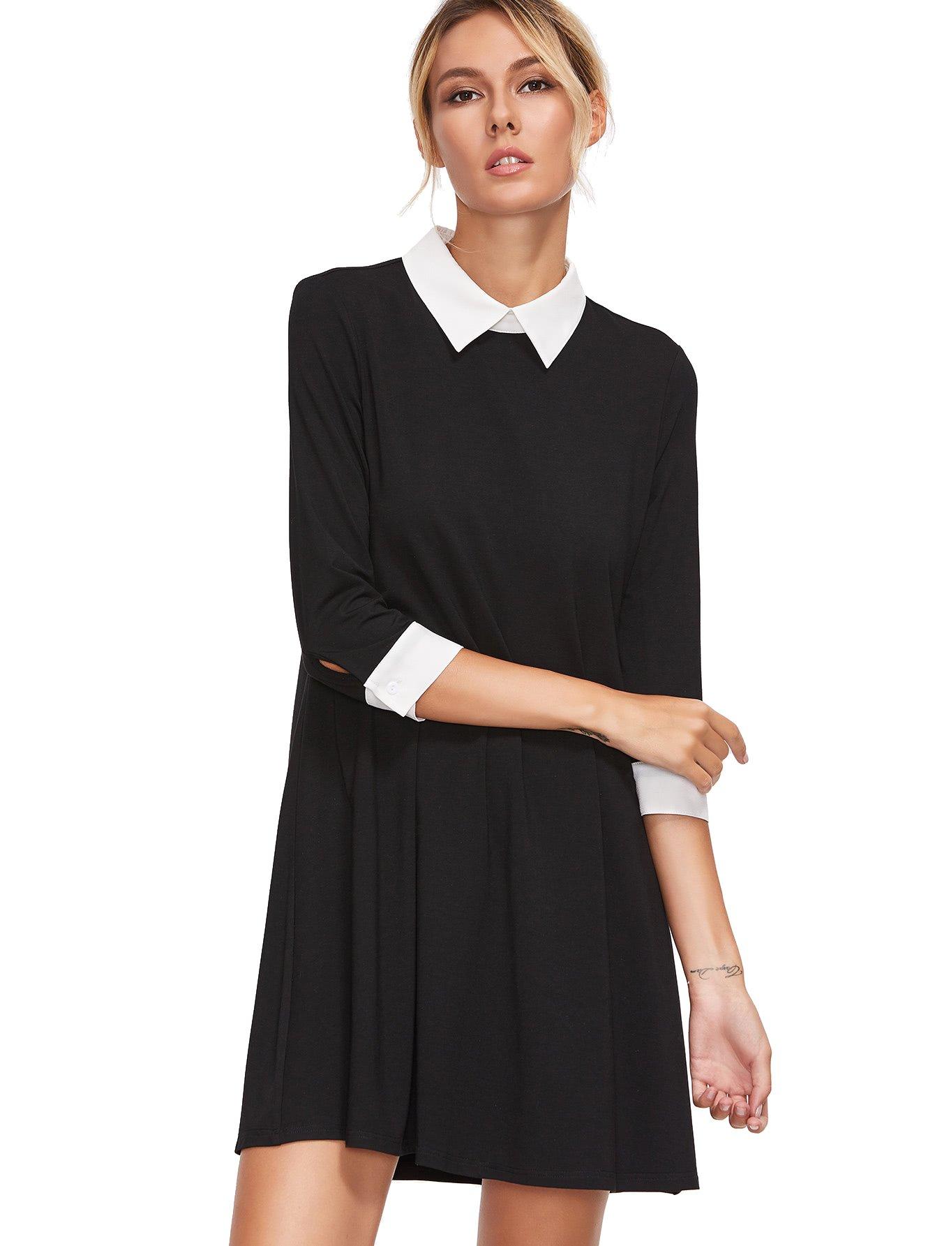 e304ab797 Floerns Women's Casual Swing Tshirt Dress Flowy Simple Contrast Collar 3/4 Sleeve  Dresses