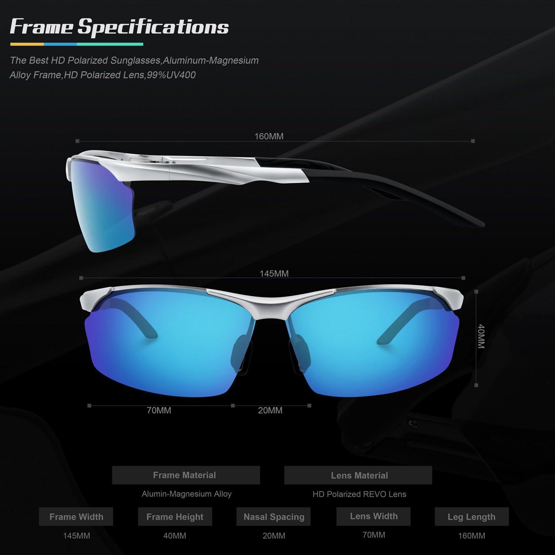 TOREGE Men s Sports Style Polarized Sunglasses Al-Mg Metal Frame Glasses M292