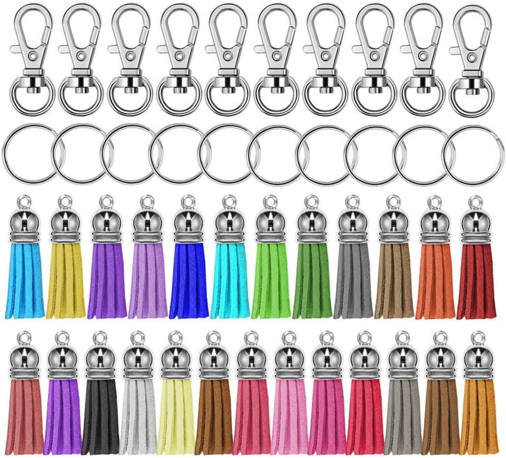 Jigsaw piece keychain with tassle and clip.