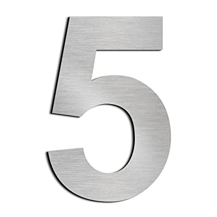 Cepillado número de casa 5 Cinco -15.3 cm 6 in-made de sólido Acero inoxidable 304 flotante apariencia, fácil de instalar