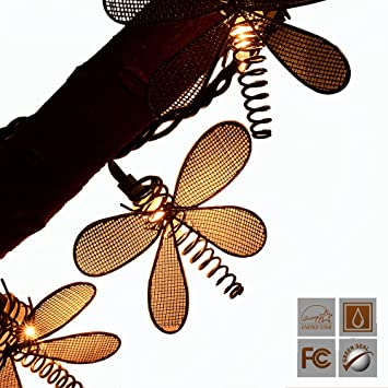 LIDORE Set Of 10 Vintage Style New Metal Dragonfly String Lights.Ideal For  Gradon,