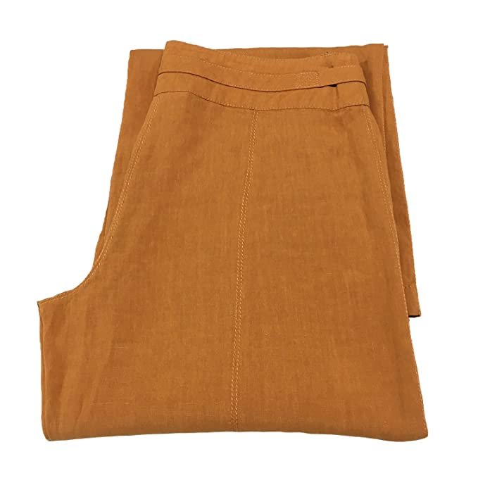 cc61a944794b WEEKEND by MAX MARA pantalone donna arancio fondo cm 27 100% lino ...