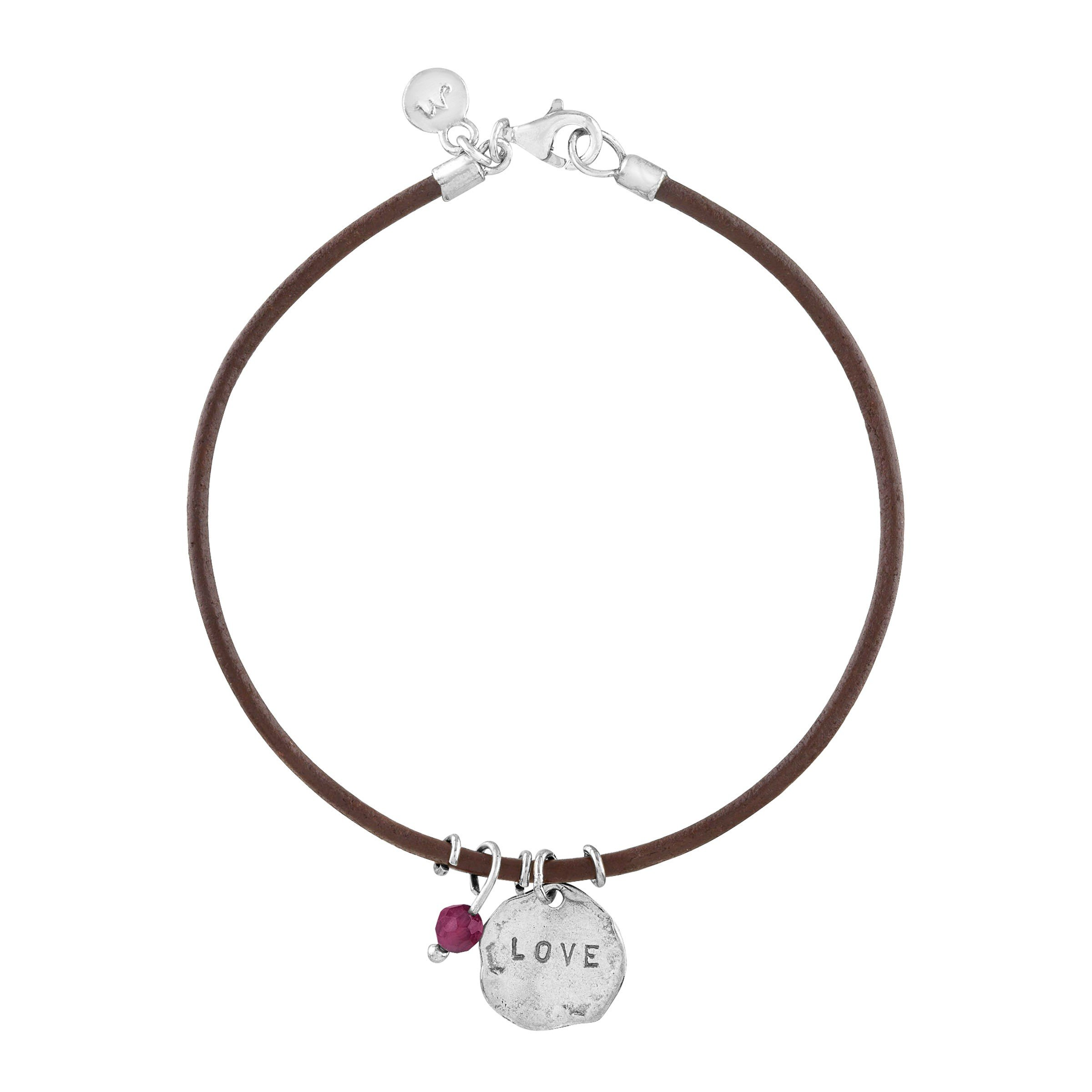 'Love' Leather Charm Bracelet with Natural Garnet in Sterling Silver