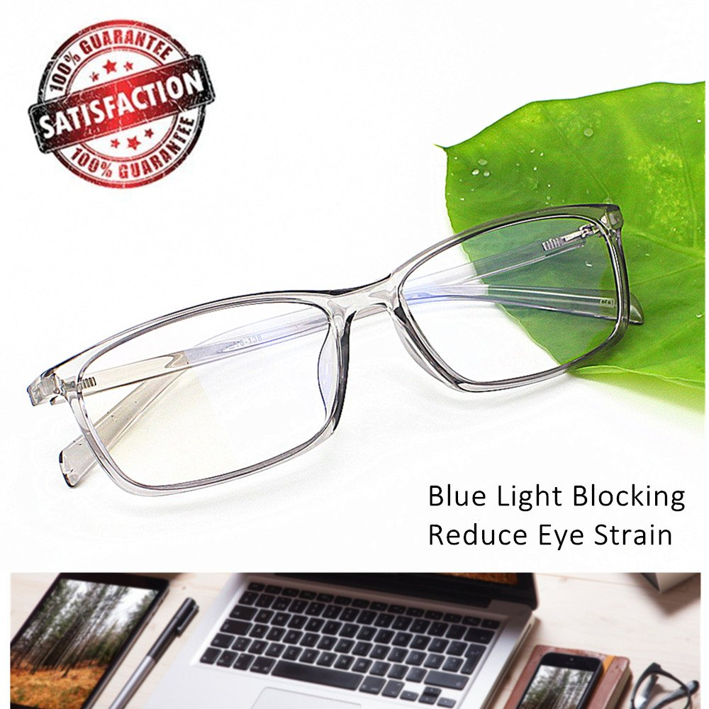 Computer Glasses Blue Light Blocking Reader Gaming Screen Digital Eyeglasses Anti Glare Eye Strain Transparent Lens UV Light Weight for Women Men Essential Gaming Gear Magnification 0