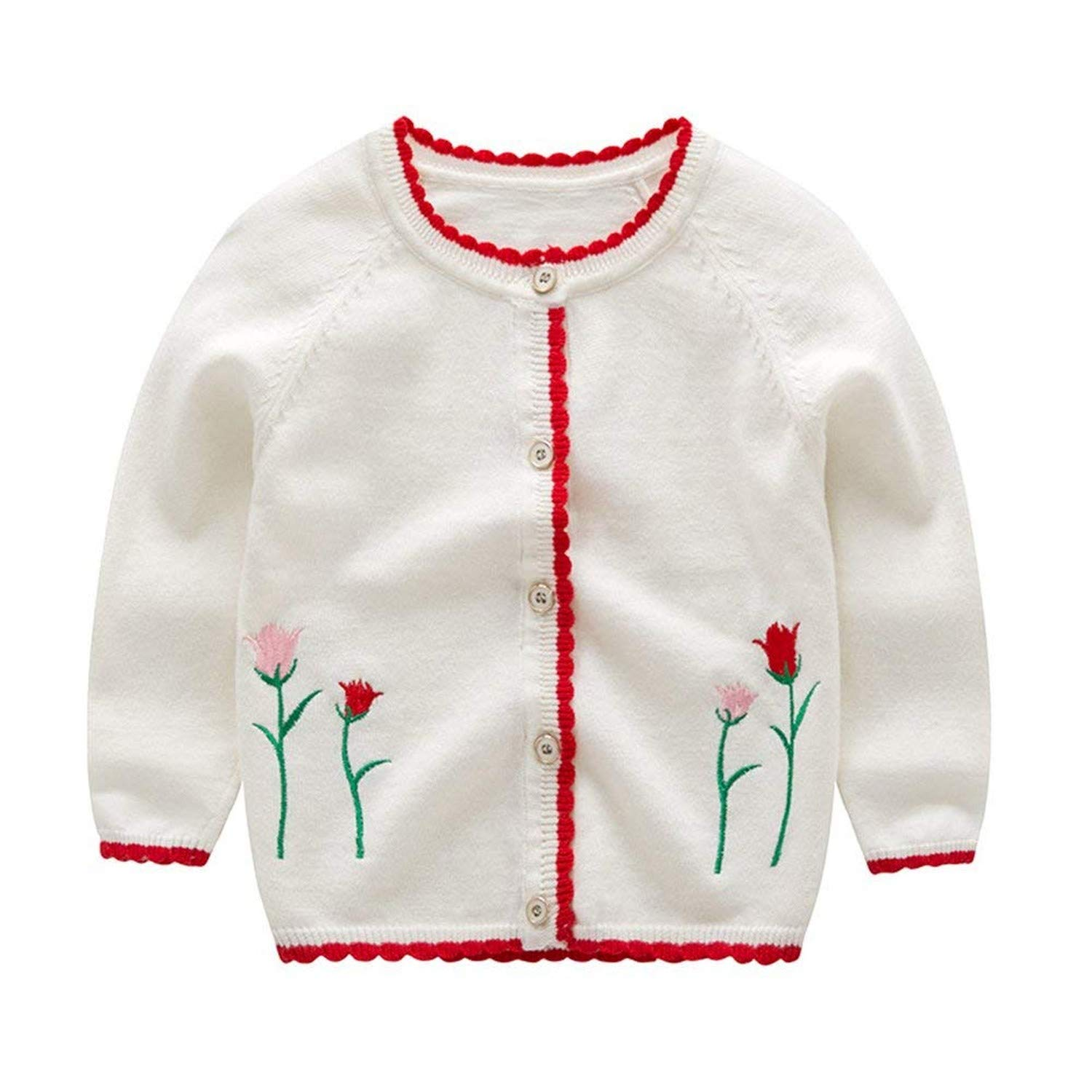 Carlos Foushee Toddler Girls Cute Warm Knitted Cardigan Embroidery Sweater Flower